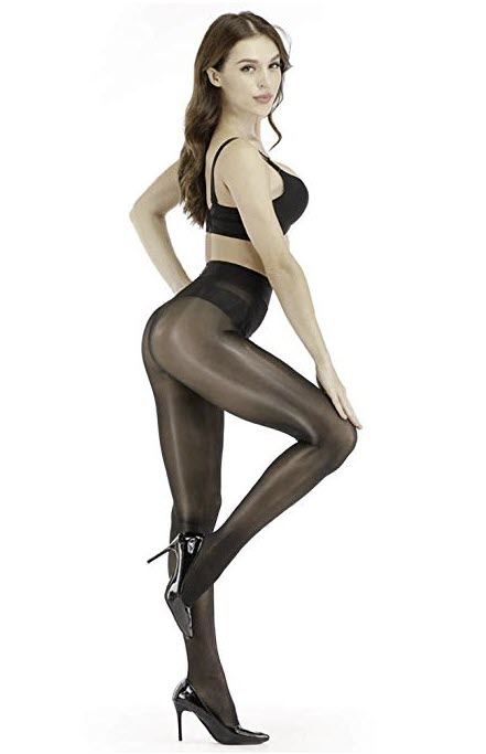 Ghostcat Women's Super Sexy Shiny Sheer Control Top Footed Tights Silk Stockings Ultra Shimmery High Waist Pantyhose