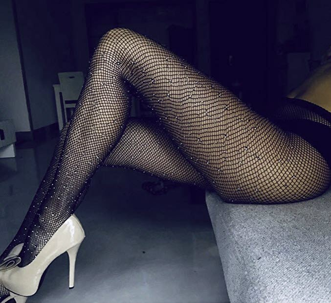 Fishnet Stockings Sparkle Glitter Rhinestone Pantyhose