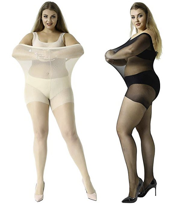 MANZI Women's 2 Pairs Plus Size Control Top Ultra-Soft Tights